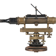 SALE Brass and Black Metal Surveyor's Transit Scope, 20th Century