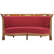 SALE French Empire Antique Mahogany Sofa, 19th Century