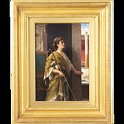 Luigi Crosio Italian Antique Painting of a Classical Interior c. 1877