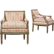 SALE Pair of French Antique Arm Chairs of Small Size, 19th Century