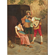 Gian Carlo Polidori Antique Painting of Street Musicians, Signed