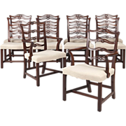 SALE Set of Ten Chippendale Style Mahogany Dining Chairs, 20th Century