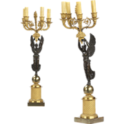 SALE Pair of French Empire Style Antique Figural Candelabra, 19th Century