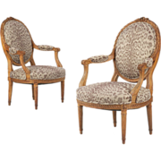 SALE French Louis XVI Pair of Antique Arm Chairs Fauteuils, 19th Century
