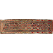 Authentic Antique Kazak Caucasian Runner Rug, Early 20th Century