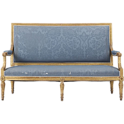 SALE French Louis XVI Antique Carved Settee Sofa Canape, 19th Century