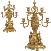 SALE Pair Antique French Louis XV Bronze Candelabra, 19th Century