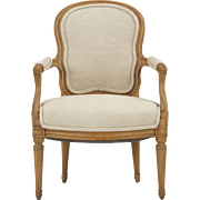 French Louis XVI Antique Fauteuil Arm Chair, Period, Late 18th Century