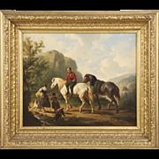 Dutch School Antique Oil Painting of Figures on Horses, 19th Century