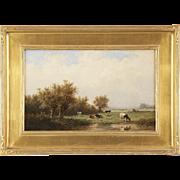 Anthonie Jacobus van Wyngaerde Dutch Antique Painting of Cows at Pasture