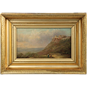 Antique Continental Oil Landscape Painting of Mountains by Sea, 19th Century