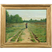 Wallace Bryant Antique American Oil Painting of Lone Figure, Signed c. 1895