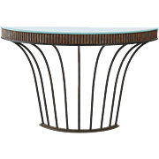 Art Deco Demilune Console Table in Wrought Iron and Copper, 20th Century