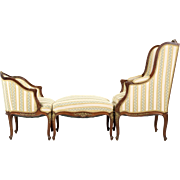 French Antique 3pc Chaise Longue with Two Chairs and Ottoman, Late 19th Century