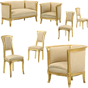 Rare Seven Piece Art Nouveau Parlor Suite attr. Louis Majorelle, Canape Sofa and Six Chairs