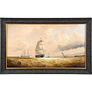 Antique Nautical Seascape Oil Painting of Ships at Sea, 19th Century