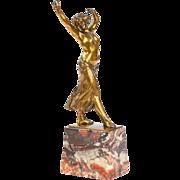 Franz Peleschka Art Deco Bronze Sculpture of Dancing Woman c. 1915