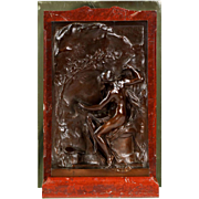 Authentic Henri Chapu Bronze Sculpture on Rouge Marble of Classical Female, Thiebaut Freres