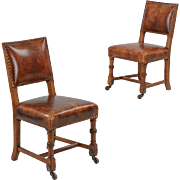 Pair of Antique Oak and Leather Chairs, Side Chairs, England