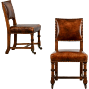 Pair of Leather and Carved Oak Side Chairs, England c. 1900