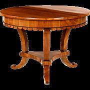 Rare Biedermeier Antique Center Table, Round Form, Early 19th Century
