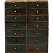 American Painted Antique Apothecary Cabinet w/ Blue Painted Surface, 19th Century