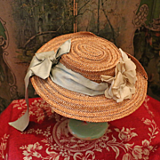 SALE PENDING Lovely Antique French Straw Hat