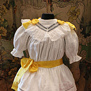 Lovely Original Antique French White Cotton Dress for Bébé