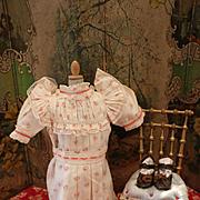 """SALE PENDING Original Antique Jumeau Factory Dress and Shoes for Size """"9"""""""