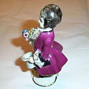 Frankenthal German  Dresden Art Lace Hand Painted Figurine