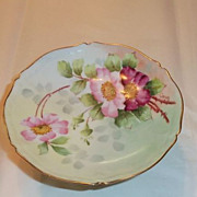 Limoges P & P Paroutaud Freres Hand Painted  Wild Roses Compote Candlesticks Artist signed Gerard