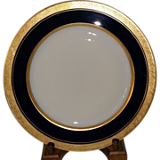 Limoges France Cobalt Blue with Gold Encrusted Rim 10 5/8 inch Porcelain Plate