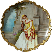 """Limoges B & H  Blakeman & Henderson Hand Painted Scene on 12"""" Charger by French Artist Dubois"""