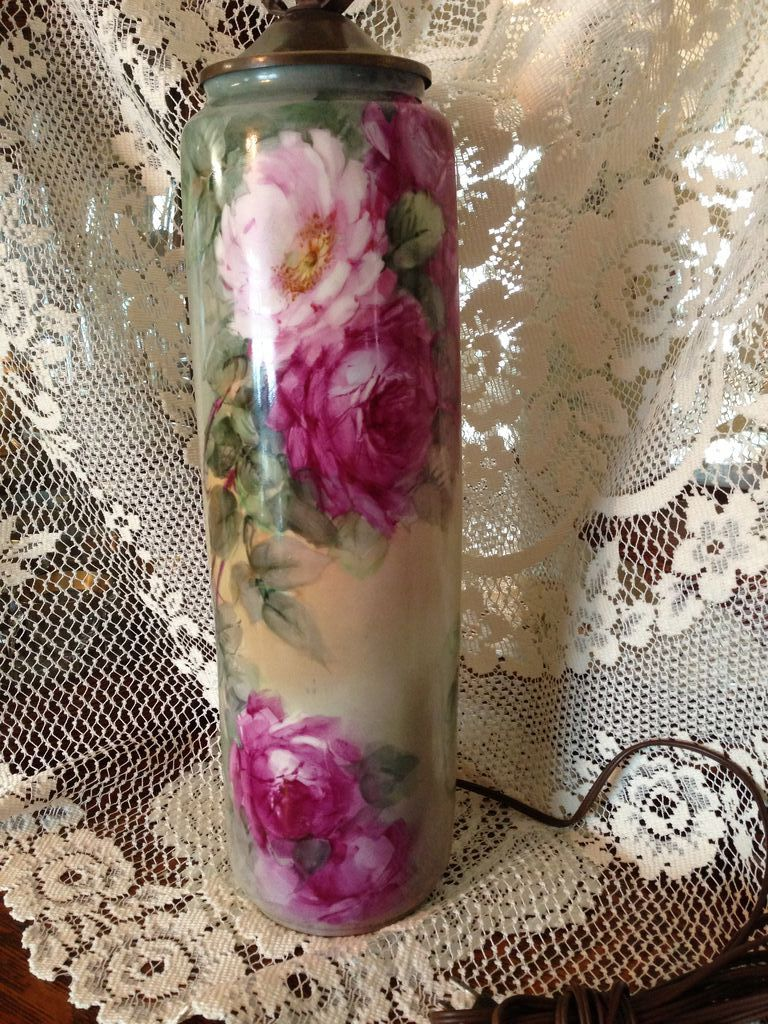 """T&V Limoges 30"""" Tall Handpainted Pink Ruby & Yellow Roses Exquisite Victorian Porcelain Lamp"""