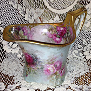 Nellie Scheinert Limoges Elegant Museum Quality Pink Roses Design on Cider Pitcher