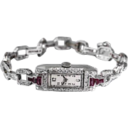 Vintage 1920s $8000 Ruby 900 Platinum 2ct VS G Diamond Ladies Watch
