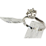 14k White Gold 1.01ct Round Cut SI-3/G Diamond Solitaire Engagement Ring