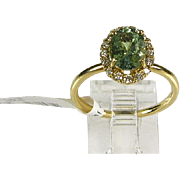 14k Yellow Gold Genuine 1.68ct Oval Cut Alexandrite .25ctw Diamond Ring