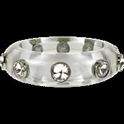 Vintage Lucite Bangle with White Quartz Gems that is Circa 1960's