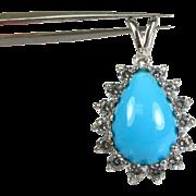 5ct Pear Cut Turquoise and 1ctw VVS/EF Diamond 14k White Gold Pendant