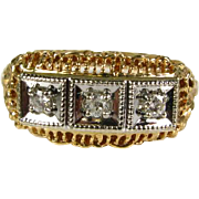 Very Pretty Antique Edwardian 10k 2 Tone Gold .20ctw 3 Natural Diamond Filigree Ring