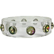 Vintage Lucite Bangle with Mystic Topaz Gems that is Circa 1960's