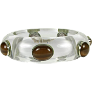 Vintage Lucite Bangle with Cat's Eye Gems that is Circa 1960's