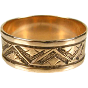 Antique 1800's Victorian 14k Rose Gold Engraved Mountain Scenic Band Ring