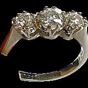Vintage 1926 900 PLATINUM & 18k 1ctw 3 Mine Cut Diamond VS-SI GH Diamond Ring