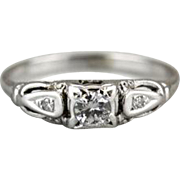 Small Late Deco, Early Retro Diamond Engagement Ring