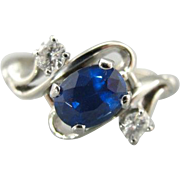 Modernist Sapphire and Diamond Ring in 14K White Gold