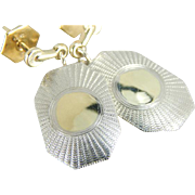 Vintage Cufflink Earrings in Yellow and White 14K Gold