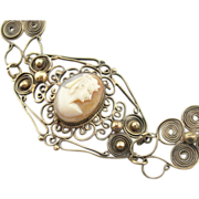 Antique Brass and Glass Filigree Bracelet with Egyptian Style Cameo