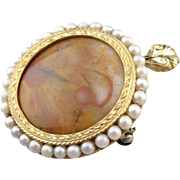 Vintage 14K Green Gold, Jasper and Cultured Pearl Pendant or Brooch, One of a Kind